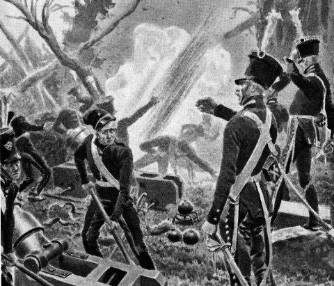 KRIGSDRAMA: Svenske styrker på Sauøya beskytes av kanonene fra festningen i 1814, et dramatisk år i byens historie.