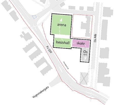 SAMMENHENGENDE: Slik foreslår prosjekteringsgruppa å plassere bygningene på Os. Arenaen er den største og sånn sett den bygningen med færrest plasseringsalternativ. I tillegg er det hensiktsmessig å bygge alle sonene sammen i én bygning. Da får man utnyttet sambrukseffekten maksimalt.