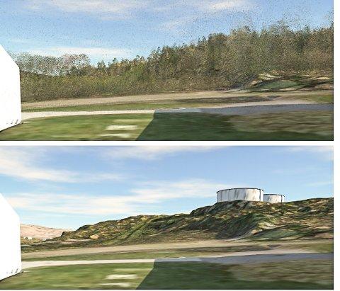 FRA HEGG: Slik vil det nye høydebassenget ta seg ut fra gamle og nedlagte Hegg skole. Det ene bildet er med vegetasjon på plass, det andre er uten vegetasjon.