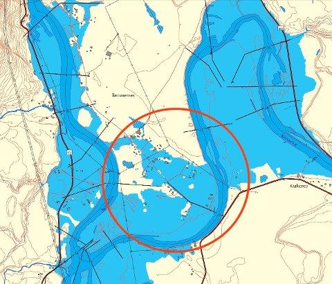 EKSTREMFLOM: Dette er NVEs scenario for en ekstremflom på Tømmernes ved Storslett. Store deler av neset blir oversvømt, og elva kan forandre løp og dele landtungen i to.