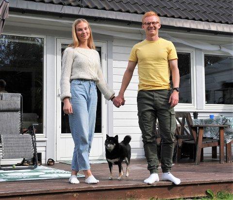 """TRIVES: Synne Julie fra Sørreisa og Kristoffer Nessø fra Kabelvåg stortrives som """"søringer"""" i sitt hjem på Raufoss."""