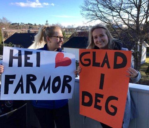 FIN GEST: Søstrene Frida- og Marie Andersen og troppet opp utenfor Haugvold med dette budskapet til sin farmor.