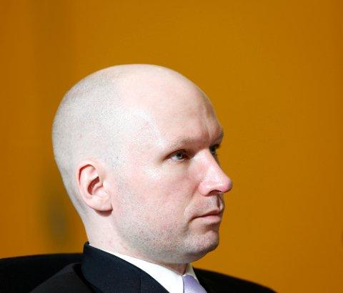 Anders Behring Breivik mener soningsforholdene hans bryter menneskerettighetene og har saksøkt staten. Onsdag faller dom i saken. Her fra rettssaken i Skien fengsel før påske. Foto: Lise Åserud / NTB scanpix