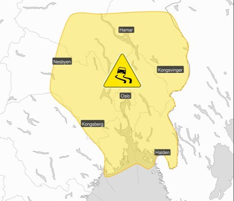 OBS – GLATT! Dette kartet fra Meteorologisk institutt viser hvor det ventes utfordrende kjøreforhold mandag kveld.