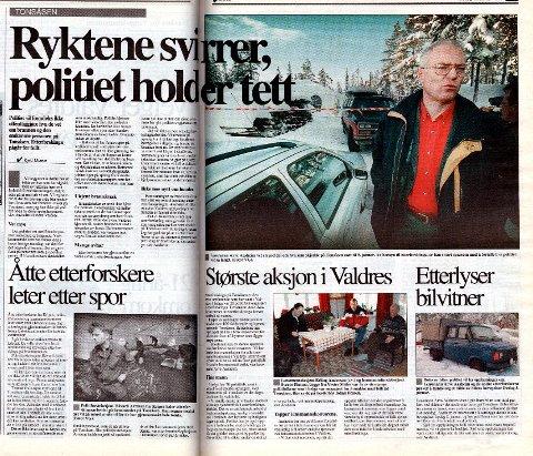 Faksimile: Det tok fire dager før saken gikk fra å være en brann med én person omkommet til å bli etterforskning  i en drapssak. Faksimile: 19. januar 1999 avisa Valdres.