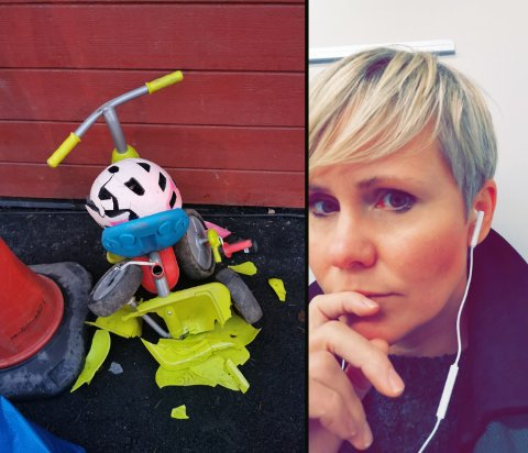 KNUST: Både hjelmen og store delen av trehjulssykkelen var knust da Linda Øverli Nilsen og datteren kom til barnehagen mandag.