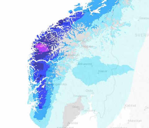 REGN: Torsdag kjem det svært mykje nedbør på Vestlandet.