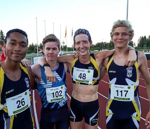 HIL-utøvere løp fort. Fra venstre Amaru Wijman, Trym Tønnesen, Tessa Frenay og Milan Frenay.