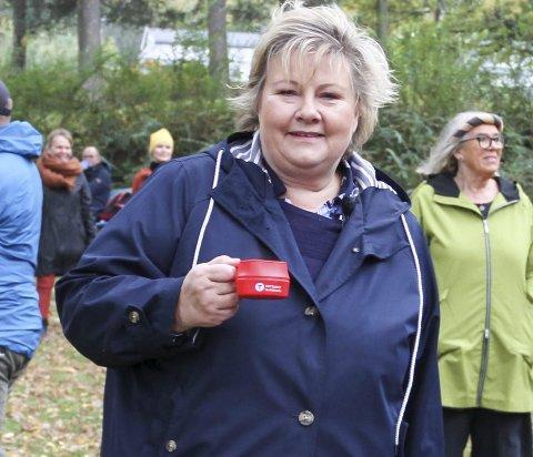 PÅ BESØK: I oktober var Erna Solberg på besøk i Holmestrand. Nå har hun besøkt Skien. FOTO: LARS IVAR HORDNES
