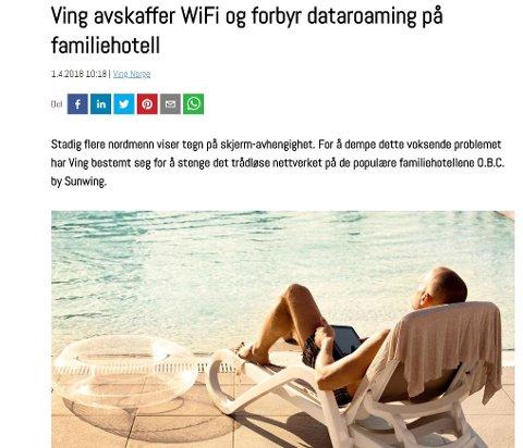 APRILSPØK: Ferie uten internett? Det var bare en spøk fra Ving sin side