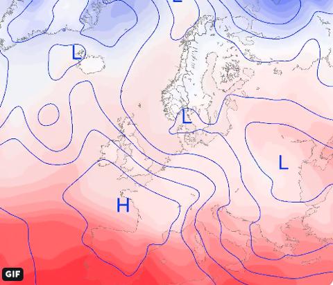 VÅRLEGE TEMPERATURAR: Fleire lågtrykk fører til realativt høge temperaturar dei neste dagane. Frå veslejulaftan er det venta meir normale temperaturar. (Foto: Meteorologene)