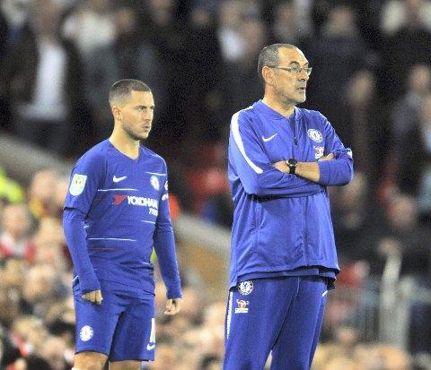 Eden Hazard (t.v.) har virkelig blomstret under Chelseas nye manager Maurizio Sarri.