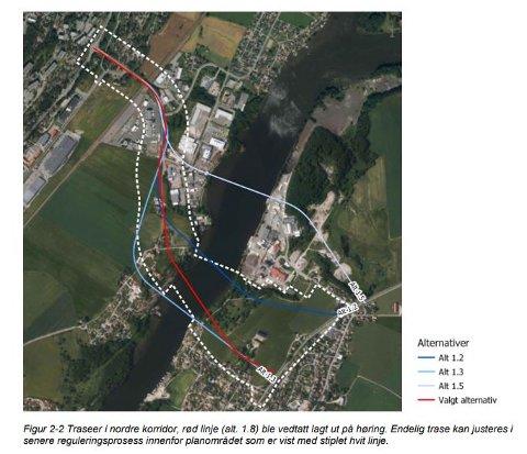 Ny Glomma-bru: Den røde linjen viser trasé 1.8, som politikerne vedtok å gå videre med. Traseen kan justeres innenfor det stiplede området på kartet.  (Illustrasjon: Asplan Viak/Fredrikstad kommune)