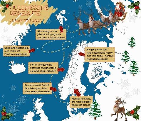 HO-HO-HO: Meteorologisk institutt har også i år utarbeidet et eget værvarsel for reisende i sleder trukket av flygende reinsdyr.