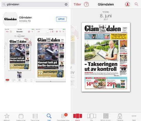 OPPDATERING: Søk opp Glåmdalen i AppStore eller butikken til Android og oppdater appen (bildet til venstre). Til høyre ser du den nye appen og her ser man i bunnen at Glåmdalen og Rix nå er to utgaver.