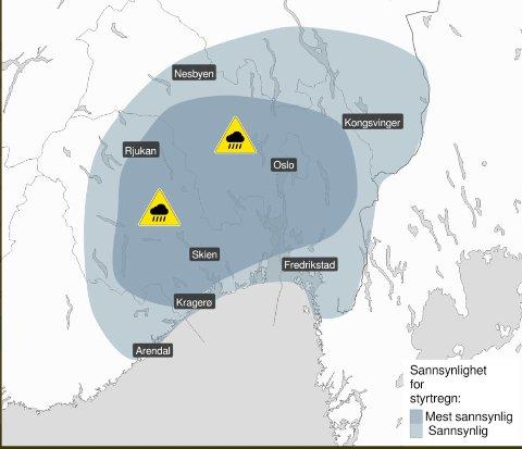 FAREVARSEL: Meteorologene har sendt ut gult farevarsel om kraftige regn- og tordenbyger på Østlandet.