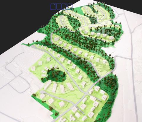 VARNA SKOG ØST FOR VÅK: Det planlegges opptil 1000 boliger mellom Evangeliesenteret (til venstre) og fylkesvei 115 mot Svinndal (til høyre). Krysset oppe til høyre er avkjøringen mot Grepperød. Illustrasjon av Nuno Arkitekter for Varna Skog AS.