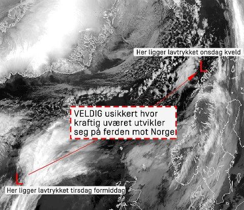 USIKKERT: Et kraftig lavtrykk er på vei mot Nord-Norge, men meteorologene er usikre på hvor ille det blir. Foto: Meteorologisk institutt
