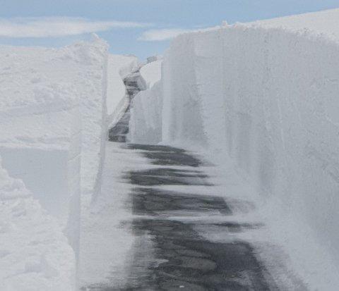 MYKJE SNØ: Brøytemannskapa må gjennom 4,40 meter djup snø i gjennomsnitt over fylkesveg 5627 Aurlandsfjellet.
