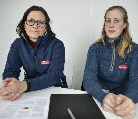 TRYGG MAT: – Folk i Norge vil ha trygg mat. Hvis selgeren ikke er registrert, så har du som kjøper matproduktene ingen som helst garanti, sier Inspektørene Ingrid Flatland og Turid Opsund Mæland.