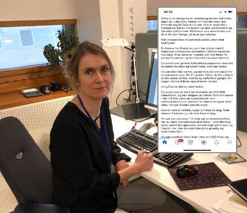 ADVARER: Seksjonsleder Hanne Eriksen-Volle i FHI sier at «fake news» ofte blomstrer ved smitteutbrudd.