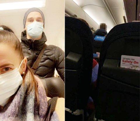 FLY MED SMITTE: Tina Gjøvig og samboeren Kent-Are Aronsen måtte fly til Trondheim for Gjøviks operasjon. På flyet de satt på ble det påvist smitte og Gjøvik var nærkontakt. Bilde til venstre er fra sykehuset, mens bilde til høyre er fra flyreisen. Foto: Privat
