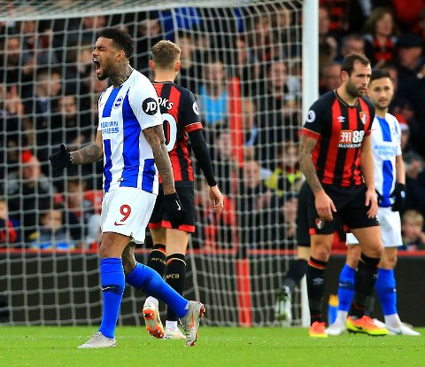 Brighton's Jurgen Locadia fortviler etter å ha bommet på en sjanse mot Bournemouth i desember.   (Mark Kerton/PA via AP)