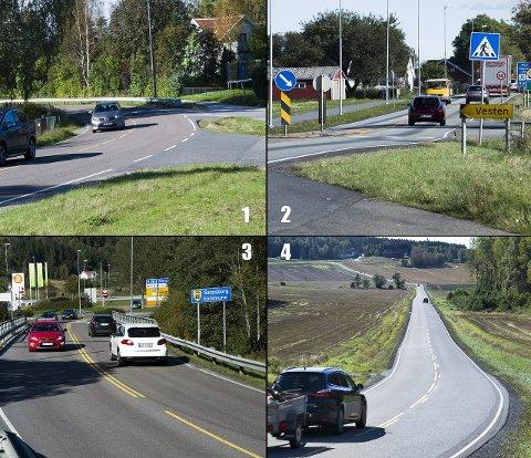 Her kommer bommene: 1. Ved Skjærviken. 2. Sør for avkjøringen til Vesten på riksvei 111. 3. Hauge bru, ved Solli. 4. På Vardeveien (Mellom Borge skole og Vetatoppen.) 8Foto: Trond Thorvaldsen