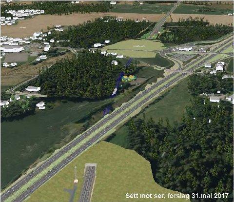 MYE LANBRUK: Nykirke består av mye dyrkbar mark. I nedkant av bildet vil toget på den nye banen forsvinne under E8 og videre under bakken fram til Teien. I skogen, midt på bildet og ved den blå linja, ligger det hvite huset til Lars Erik Ims.