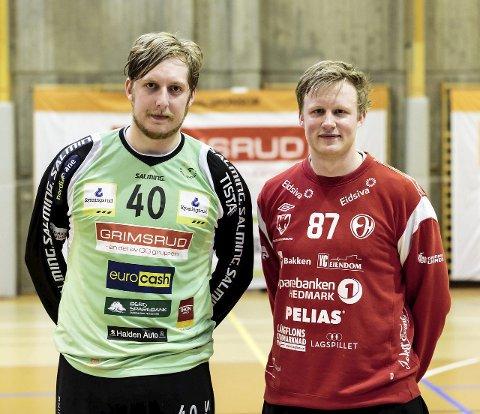 Heftig keeperduell: Morten Nergaard (til høyre) og Rasmus Bech leverte tidvis keeperspill av skyhøy klasse i Remmenhallen onsdag kveld.alle foto: hans Petter wille