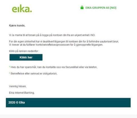 PÅGÅENDE SVINDEL: På ny florerer det av falske e-poster som utgir seg for å være sendt fra Eika. Målet er å innhente personlig informasjon for å lure deg for penger.