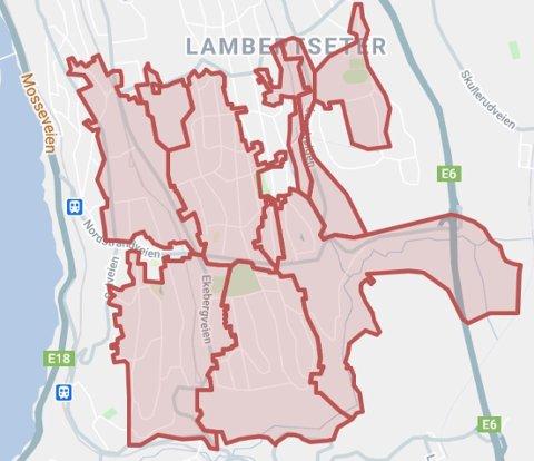 STRØMBRUDD: Elvias kart over området som er rammet av strømbrudd.
