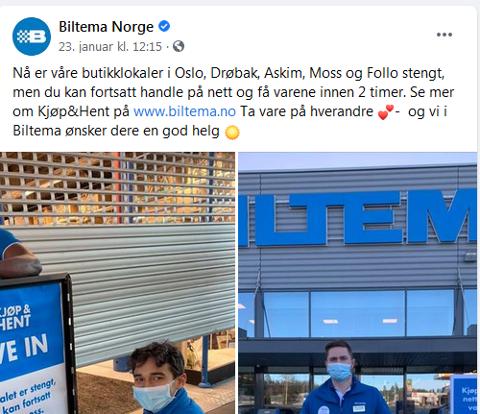 STENGER IKKE: Biltemas butikk på Sofiemyr er stengt, men varehuset opprettholder ordningen med kjøp & hent, til tross for at Nordre Follo kommune understreker at ordningen skal stenges, i første omgang ut januar.