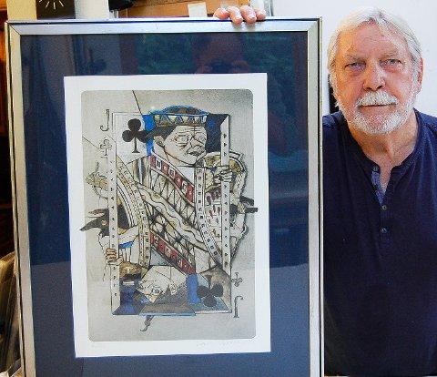 FORFALSKNING. - Dette bildet er en forfalskning, som ble lagt ut på nettauksjon på finn.no, sier kunstneren Jan Baker. Bildet er en avfotografering av et materialbilde og kalles for en originaltegning.