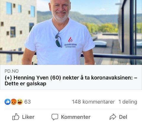 Mange og sterke meninger etter at koronavaksinemotstander Henning Yven sto fram her i avisa lørdag.