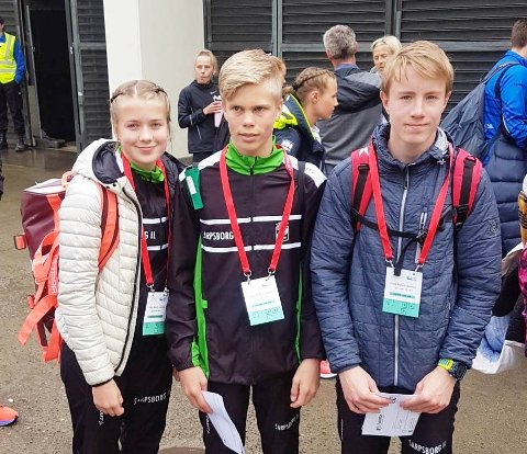 BISLETT GAMES: Maiken Prøitz (fra venstre), Benjamin Olsen og Marcus Dahl-Rismyhr var i aksjon på friidrettens store festdag på Bislett torsdag. Benjamin Olsen gikk til topps på 800 meter i 14/15-årsklassen.