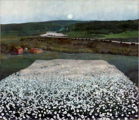 """""""En blomstereng nordpå"""" er et av Sohlbergs mest kjente maleri. Det ble malt mens han bodde på Gullikstad."""