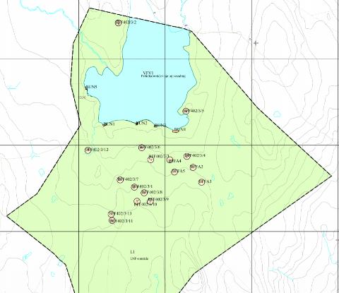 Fjellsjøen: Kart over Fjellsjøen fra reguleringsplanen. Kilde Røros kommune