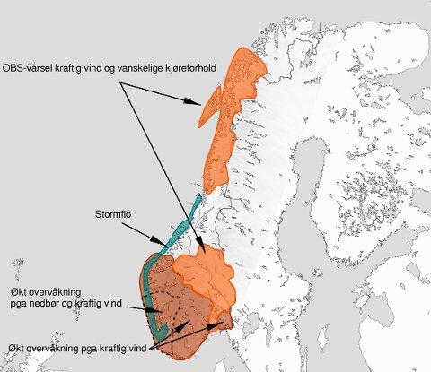 Det er sendt ut mange farevarsler de neste dagen. Langs hele kysten meldes det om fare for stormflo.
