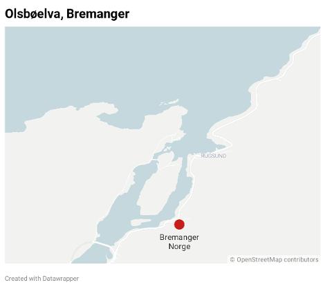 Ulykka skjedde ved Olsbøelva på Fv 616.