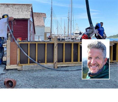 PRØVDE Å STOPPE: Sigbjørn Stenseth gjorde det han kunne for å hindre sementbilen å fylle betong i denne blomsterkassa utanfor Amfi i dag torsdag 25. juni. Men til ingen nytte.