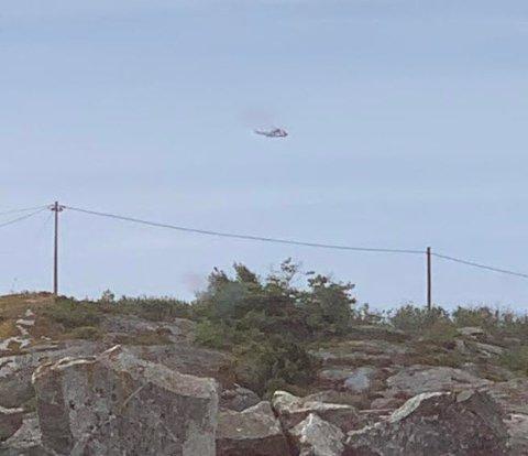 Her er SeaKingen på vei ut til redningsaksjonen ved Lauer.