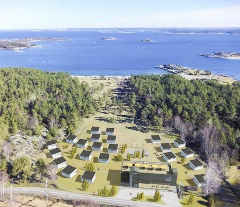Kostergården: I juni skal 22 hytter og en hotellbygning med stor takterrasse stå ferdig til å ta i bruk. Alle hyttene er solgt, men det er mulig å leie seg inn i hyttene i 27 uker av året. Tegning: Tricona AB