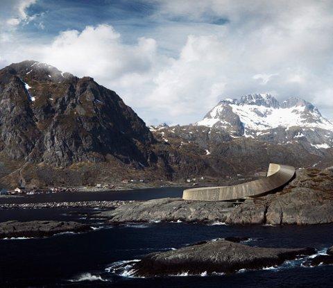 HOTELL: Snøhettas hotellvisjon på Sørvågen vakte internasjonal oppsikt. Selskapet som skulle videreføre planene er konkurs. Illuastrasjon: Snøhetta