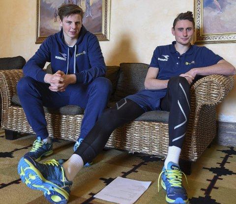 PROFFER EI UKE: Andreas Heggen (t.v) og Marius Alm trives på treningsleir med Raufoss.Foto: Marius Mykleset