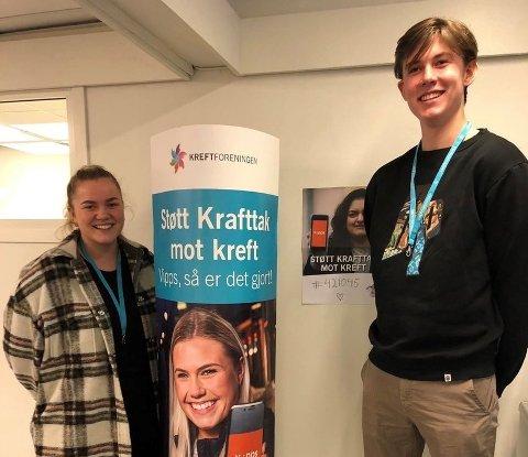 KRAFTTAK MOT KREFT:  Lise Bjelland Berle og Eivin Berger Pettersen er begge med på årets digitale innsamlingsaksjon