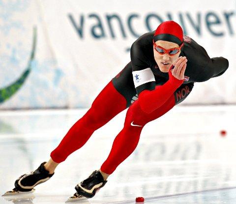 Gikk i OL: Christoffer Fagerli Rukke avbildet under 1.000-meteren i OL i Vancouver i 2010. I helga kommer sprinteren til Kristiansund for å gå norgescup.