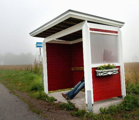 PYNT: Ikke et typisk skur... men en hyggelig sted  vente. Kanskje ikke så lett, men ser du hvor det er? Arkivfoto: Marit Borgen