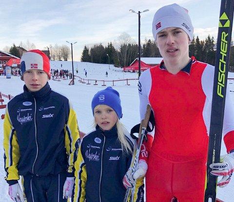 Søsknene Vemund (f.v.), Anna Regine og Tor Myhre gjorde seg bemerket i Svarstadrennet i Vestfold mandag. Privat foto