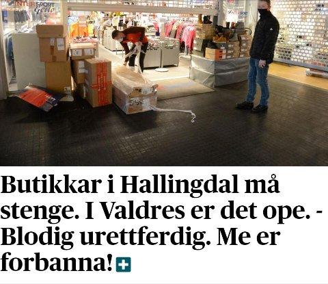 Hallingdølen: Avisa Hallingdølen samanlignar Valdres og Hallingdal på nettsida si tysdag.